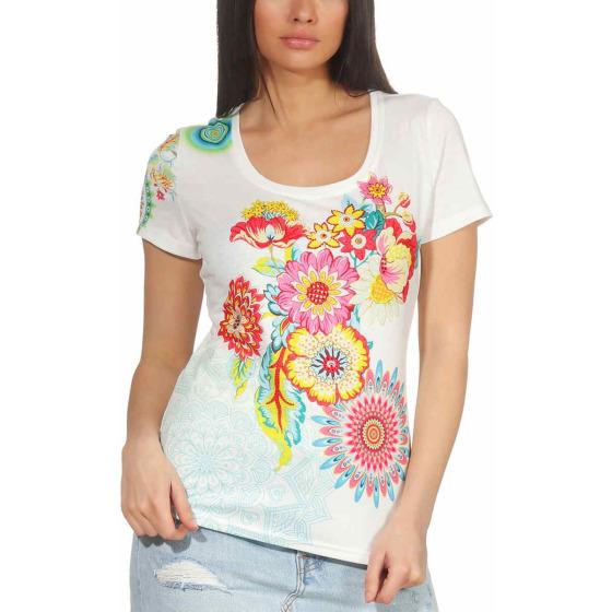 StyleLightOne Damen T-Shirt Stretch Glitzer-Steinchen, Weiß S/M