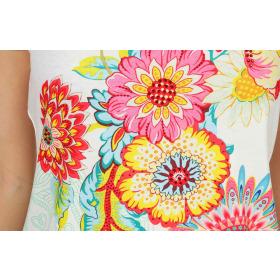 StyleLightOne Damen T-Shirt Stretch Glitzer-Steinchen, Weiß L/XL