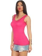 StyleLightOne Damen Dünnes Tank-Top Spitze Stretch, Pink Fuchsia 36 38