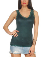 StyleLightOne Damen Dünnes Tank-Top Spitze Stretch, Dunkel-Grün 36 38