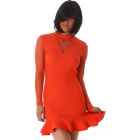 StyleLightOne Minikleid Netz Stretch Volant Clubwear, Apricot-Orange 34 36 (S)