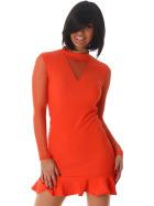 StyleLightOne Minikleid Netz Stretch Volant Clubwear, Apricot-Orange 36 38 (M)