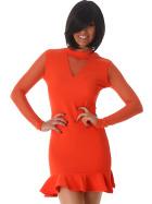 StyleLightOne Minikleid Netz Stretch Volant Clubwear, Apricot-Orange 38 40 (L)