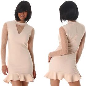 StyleLightOne Minikleid Netz Stretch Volant Clubwear, Beige 36 38 (M)