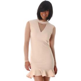 StyleLightOne Minikleid Netz Stretch Volant Clubwear, Beige 38 40 (L)