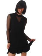 StyleLightOne Minikleid Netz Stretch Volant Clubwear, Black 36 38 (M)