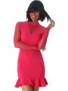 StyleLightOne Minikleid Netz Stretch Volant Clubwear, Pink 34 36 (S)