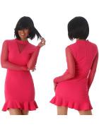 StyleLightOne Minikleid Netz Stretch Volant Clubwear, Pink 36 38 (M)
