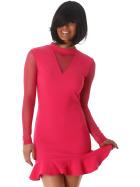 StyleLightOne Minikleid Netz Stretch Volant Clubwear, Pink 38 40 (L)