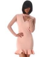StyleLightOne Minikleid Netz Stretch Volant Clubwear, Rose 34 36 (S)