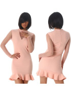 StyleLightOne Minikleid Netz Stretch Volant Clubwear, Rose 38 40 (L)