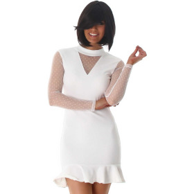 StyleLightOne Minikleid Netz Stretch Volant Clubwear, White 34 36 (S)