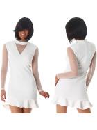 StyleLightOne Minikleid Netz Stretch Volant Clubwear, White 36 38 (M)