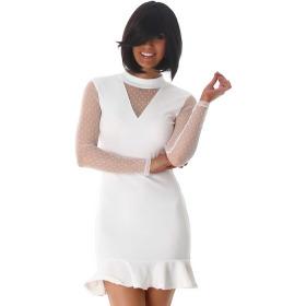 StyleLightOne Minikleid Netz Stretch Volant Clubwear, White 38 40 (L)