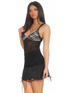 StyleLightOne Damen Negligé Nachthemd Stretch, Schwarz 34 36 (S)