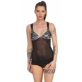 StyleLightOne Damen Negligé Nachthemd Stretch, Schwarz 36 38 (M)