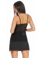 StyleLightOne Damen Negligé Nachthemd Stretch, Schwarz 38 40 (L)