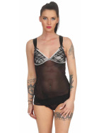 StyleLightOne Damen Negligé Nachthemd Stretch, Schwarz 40 42 (XL)