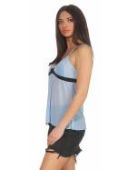 StyleLightOne Damen Negligé Nachthemd Stretch, Hellblau 34 36 (S)