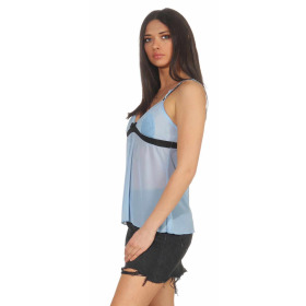 StyleLightOne Damen Negligé Nachthemd Stretch, Hellblau 40 42 (XL)