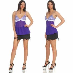 StyleLightOne Damen Negligé Nachthemd Stretch, Blau Weiß 34 36 (S)