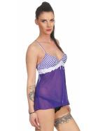 StyleLightOne Damen Negligé Nachthemd Stretch, Blau Weiß 36 38 (M)