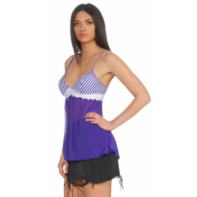 StyleLightOne Damen Negligé Nachthemd Stretch, Blau Weiß 38 40 (L)
