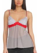 StyleLightOne Damen Negligé Nachthemd Stretch, Grau Rot 34 36 (S)