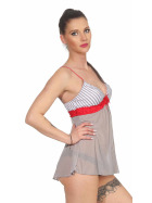 StyleLightOne Damen Negligé Nachthemd Stretch, Grau Rot 36 38 (M)