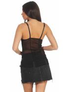 StyleLightOne Damen Negligé Nachthemd Stretch, Schwarz Türkis 34 36 (S)