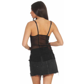 StyleLightOne Damen Negligé Nachthemd Stretch, Schwarz Türkis 40 42 (XL)