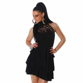 SL1 Damen Neckholder Abendkleid Spitze Rückenfrei Stretch, Schwarz 34 36