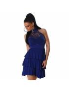 SL1 Damen Neckholder Abendkleid Spitze Rückenfrei Stretch, Blau 32 34