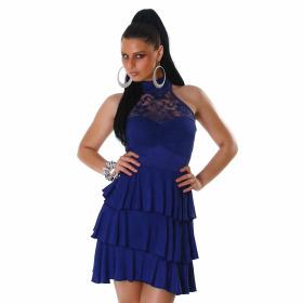SL1 Damen Neckholder Abendkleid Spitze Rückenfrei Stretch, Blau 34 36