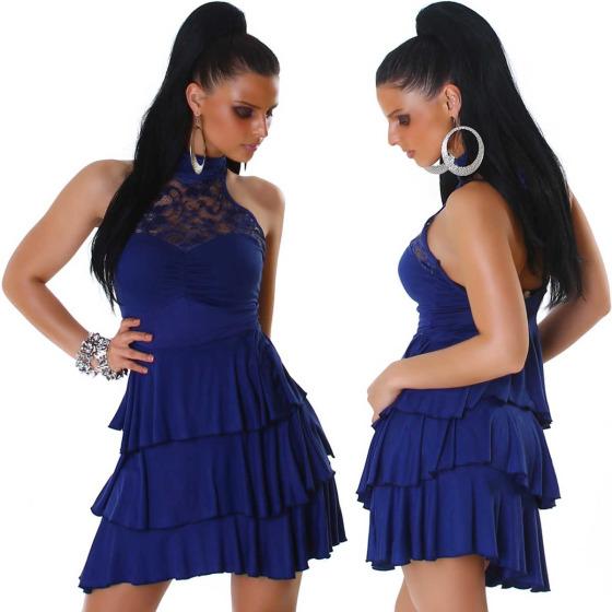 SL1 Damen Neckholder Abendkleid Spitze Rückenfrei Stretch, Blau 36 38
