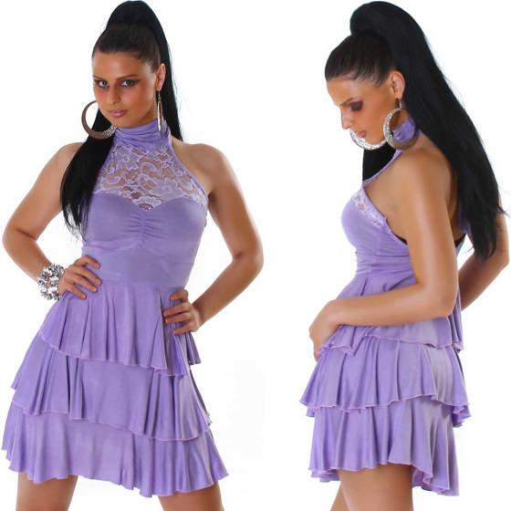 SL1 Damen Neckholder Abendkleid Spitze Rückenfrei Stretch, Violett 32 34