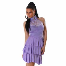 SL1 Damen Neckholder Abendkleid Spitze Rückenfrei Stretch, Violett 34 36