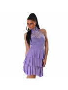 SL1 Damen Neckholder Abendkleid Spitze Rückenfrei Stretch, Violett 38 40