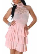 SL1 Damen Neckholder Abendkleid Spitze Rückenfrei Stretch, Rosa 36 38