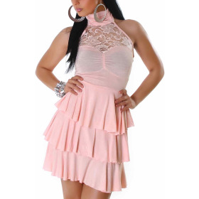 SL1 Damen Neckholder Abendkleid Spitze Rückenfrei Stretch, Rosa 38 40