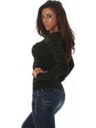 Jela London Damen Streifenshirt Pullover V-Ausschnitt Slim Stretch, Dunkel-Grün 34-38