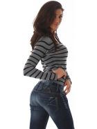 Jela London Damen Streifenshirt Pullover V-Ausschnitt Slim Stretch, Grau 34-38