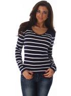 Jela London Damen Streifenshirt Pullover V-Ausschnitt Slim Stretch, Navy-Blau 34-38