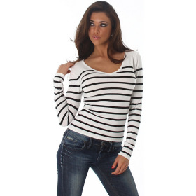 Jela London Damen Streifenshirt Pullover V-Ausschnitt Slim Stretch, Weiß 34-38