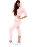 Jela London Damen Velours Jogginganzug Nicki Hausanzug, Rosé 34 36 (S)