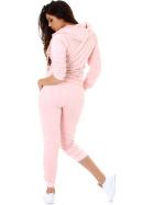 Jela London Damen Velours Jogginganzug Nicki Hausanzug, Rosé 36 38 (M)