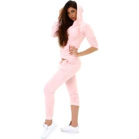 Jela London Damen Velours Jogginganzug Nicki Hausanzug, Rosé 38 40 (L)