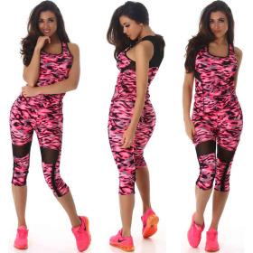 SL1 Damen Fitness Set Tank-Top & Leggings Capri, Pink 32 34 36 (SM)