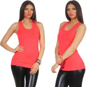 Jela London Damen Basic Longtop, 3er Set Pink Orange Apricot 34 36 38