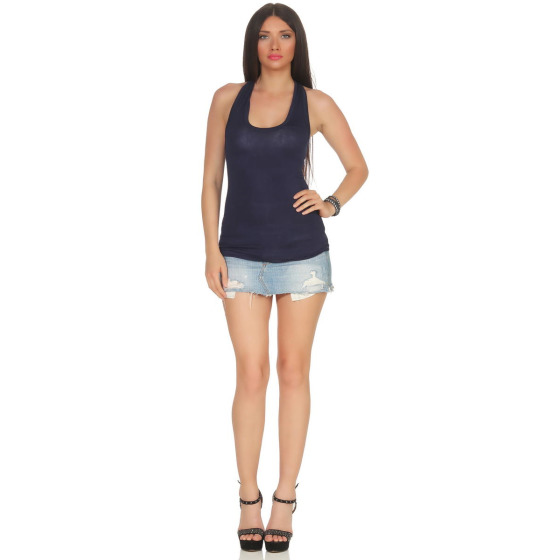 Jela London Damen Basic Tank-Top kurz Stretch, Navy-Blau 34-38